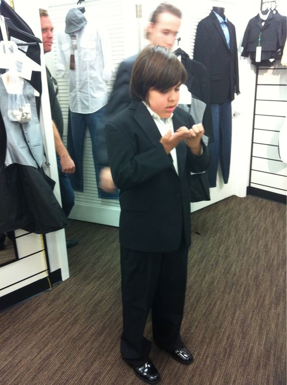 Getting ready for his Tia Bea's wedding!